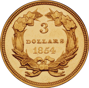 1854 three dollar coin pricing