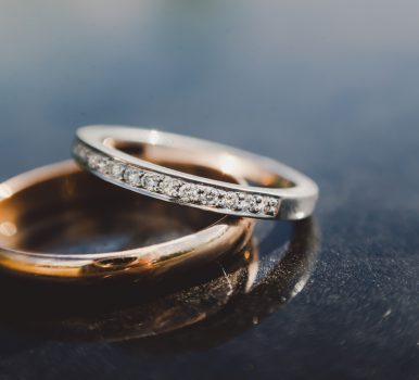 Two rings made of different types of gold